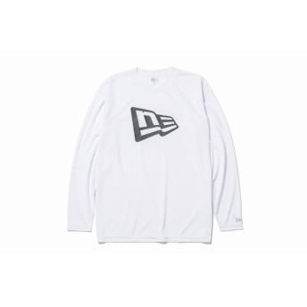 NEW ERA ニューエラ Performance Apparel 長袖 テック Tシャツ フラッグ ホワイト × ブラック ロンT 長袖 ウェア メンズ レディース Large 11877248 NEWERA