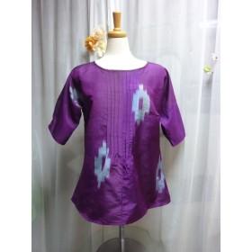 紫のプルオーバー 着物リメイク