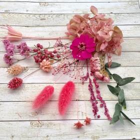 17 ドライフラワー&プリザーブドフラワー ボリューム花材セット ジニア