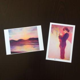 【2枚組】夕陽&母子像のポストカード