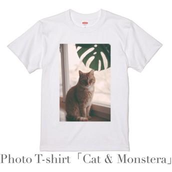 デザインTシャツ 「ネコとモンステラ」