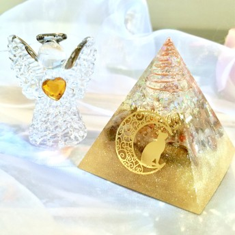 【Sold out】▼ Gold moon Cat - オルゴナイト