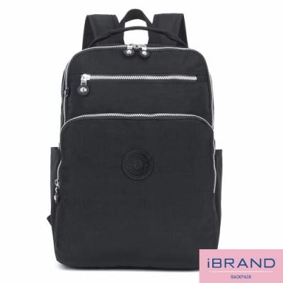 iBrand後背包 輕盈防潑水素色雙拉鍊尼龍後背包(大)-黑色
