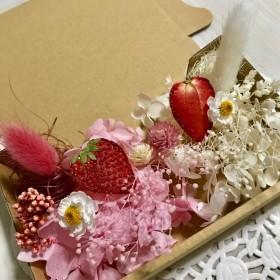 押しイチゴと花かんざしハーバリウム 花材ドライフラワー 花材セット