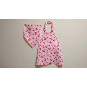 100cm さくらんぼ(ピンク)ゴム紐 子供用エプロン(三角巾/給食帽・巾着袋オプション)