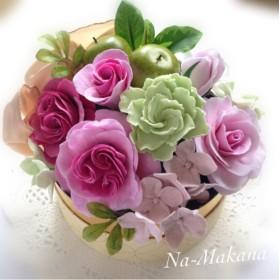 アンティークピンクのバラのアレンジBOX
