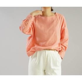【wafu】薄地 リトアニアリネンブラウス カフスシャツ袖のドロップショルダー チュニック/ヴェスタ t002a-vet1