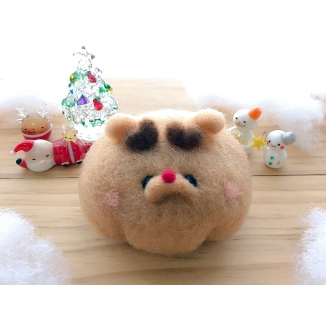 【羊毛フェルト】 クリスマス限定 赤鼻のトナカイふわまろさんA 【おころまあや】