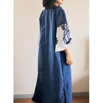 フレア袖 夏の透ける青のLongワンピース (no.318)