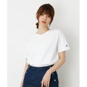 (grove/グローブ)【Champion】ベーシックVネックTシャツ/レディース オフホワイト(003)