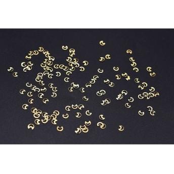 M2938 500個 ネイルパーツ メタルパーツ 月フレーム 3×3mm ゴールド【約500ヶ】