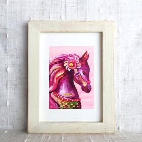 油絵フレーム付き - 木馬 pop- pink-