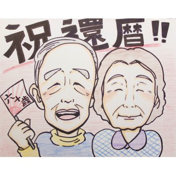 作家:沙月 似顔絵 水彩 【2名】 Mサイズ【送料無料】