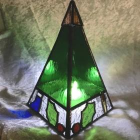 ステンドグラス クリスマスツリーミニ(グリーン)キャンドルホルダー