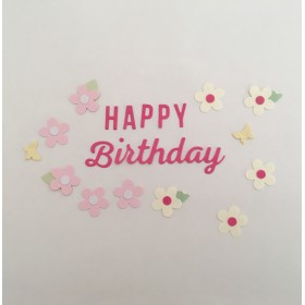 【再販】デコレーション素材 HAPPY Birthday 濃いピンク 送料無料