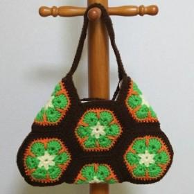 手編み アフリカンフラワーのワンショルダーバッグ