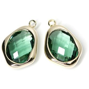再販【1個】Dark Mint Greenカラー不規則ドロップ形ゴールドチャーム、ペンダント