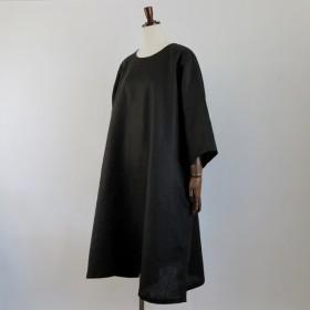 【大きいサイズ】リネン Aライン ワンピース 【3L~8L】オーダーメイド/受注製作【サイズ・カラー・襟ぐり・袖丈選択可】