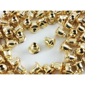 送料無料 ●弾丸型● ピアスキャッチ 100個 ゴールド (アンティーク) 6mmx5mm 内部 シリコン キャッチ ピアス パーツ 金具 アクセサリー ハンドメイド 素材 (AP0194)