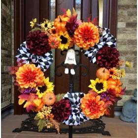 No. wreath-14868/ハロウィン・リース「チェッカー・リボン&ゴーストBoo(11)」/玄関リース・花・造花/38cm
