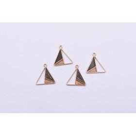 送料無料8個 エポチャーム 三角形 二色 20×22mm ゴールド ブラウン×グレー mj257
