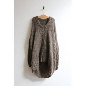 手編みモヘアラウンドネックセーター ブラウン