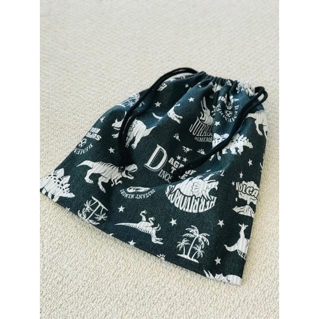 《再販‼️》恐竜&ヒッコリー 体操着袋 お着替え袋 巾着 ブラック