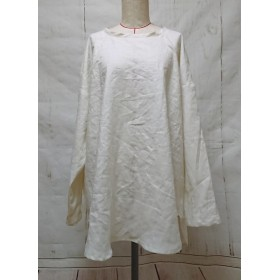 柔らかベルギーリネン オフホワイト ゆったりシルエットの長袖プルオーバー