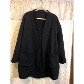 ウール起毛ニットクロスのジャケット*大きめ13号