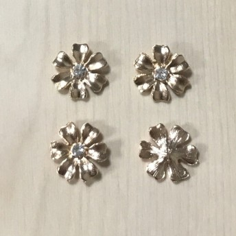 GOLD CRYSTAL RHINESTONE FLOWER CABOCHONS PARTS