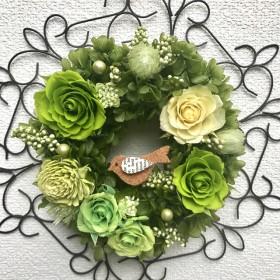 プリザーブドフラワーリース*ワイヤーフレーム*薔薇、紫陽花