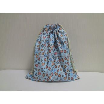 値下げ★送料無料★巾着 30×35 ハートのヒョウ柄 ブルー