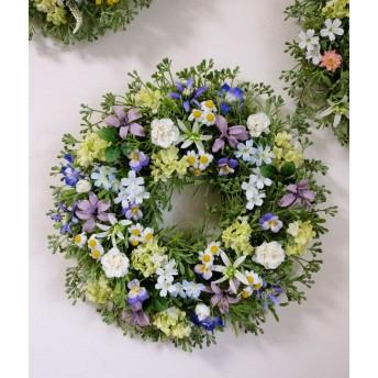 大きめ・ブルー系の優しい小花のリースD(35センチ)