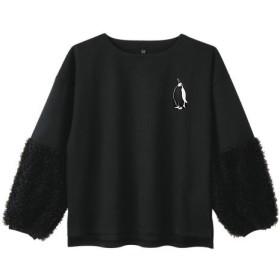 ペンギン レディース袖切り替えシャツ ブラック 送料無料