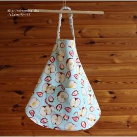 New! 95-115 子供エプロン&三角巾 フルーツ 水色