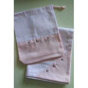 オーダー出来ます! バラとつぼみの刺繍入り♪ランチマット&給食袋・・・ピンク・・・