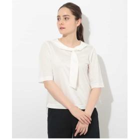 GEORGES RECH 【洗える】タイアレンジネックカットソー Tシャツ・カットソー,ホワイト