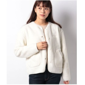 JEANS MATE 【OUTDOOR PRODUCTS】ボウ風ボアカーディガン(オフホワイト)【返品不可商品】