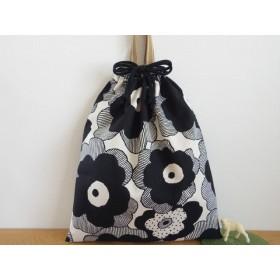 [再販・受注製作] お着替え袋 (35×30) ☆ モノクロお花2