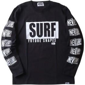 (ラバーソウル)RUBBERSOUL NEV SURF ネブ 袖ロゴプリント クルーネックロンT メンズ D柄 L 88.BLACK