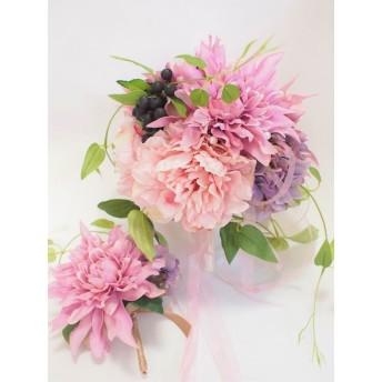 15%OFF 選べるパーツのブーケ&ブートニア ダリアとピオニーのラウンドブーケ ウェディングブーケ ブライダルブーケ ラウンドブーケ アーティフィシャルフラワー 造花 結婚式 挙式 ナチュラル