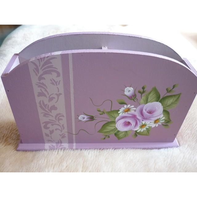 トールペイント 紫色の卓上状差し