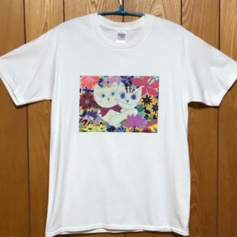 仲良し猫さん Tシャツ【白】