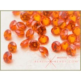 【20個セット】CZ 3mm ライト オレンジ キュービック ジルコニア ラウンド ファセットカット カラー ルース 素材
