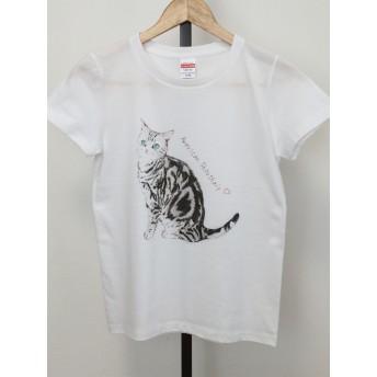 可愛い猫Tシャツ アメリカンショートヘアー 受注制作