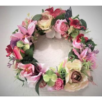 ピンクのお花いっぱいリース