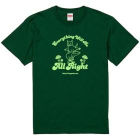 SALE【おおきめサイズ】猫とカエルのTシャツ(アイビーグリーン)【S】男女兼用