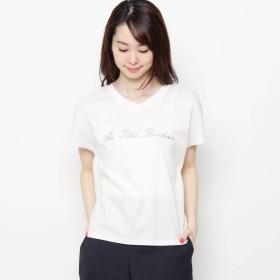 エアパペル AIRPAPEL 【洗える】ロゴ刺しゅうTシャツ (ホワイト)