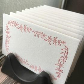 活版印刷メッセージカード・リーフ/ワイン(名刺・席札etc.)