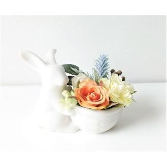 白うさぎの花かごアレンンジ/フラワーギフト/お祝いギフト